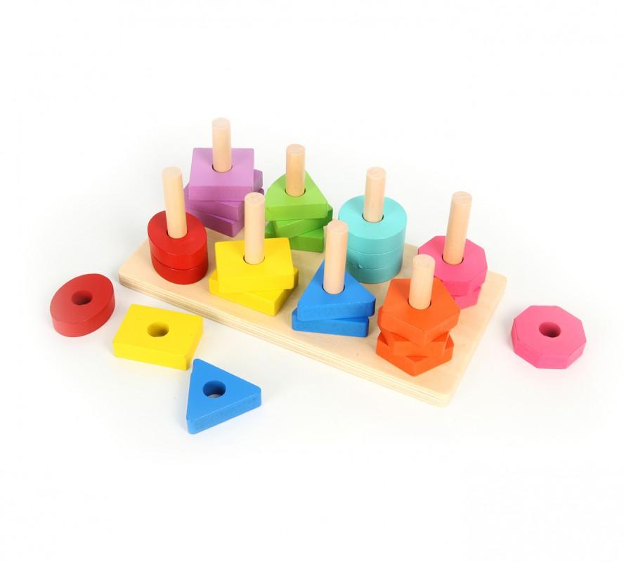 บล็อกไม้สีเรขาคณิต Geometric Wooden Color Blocks