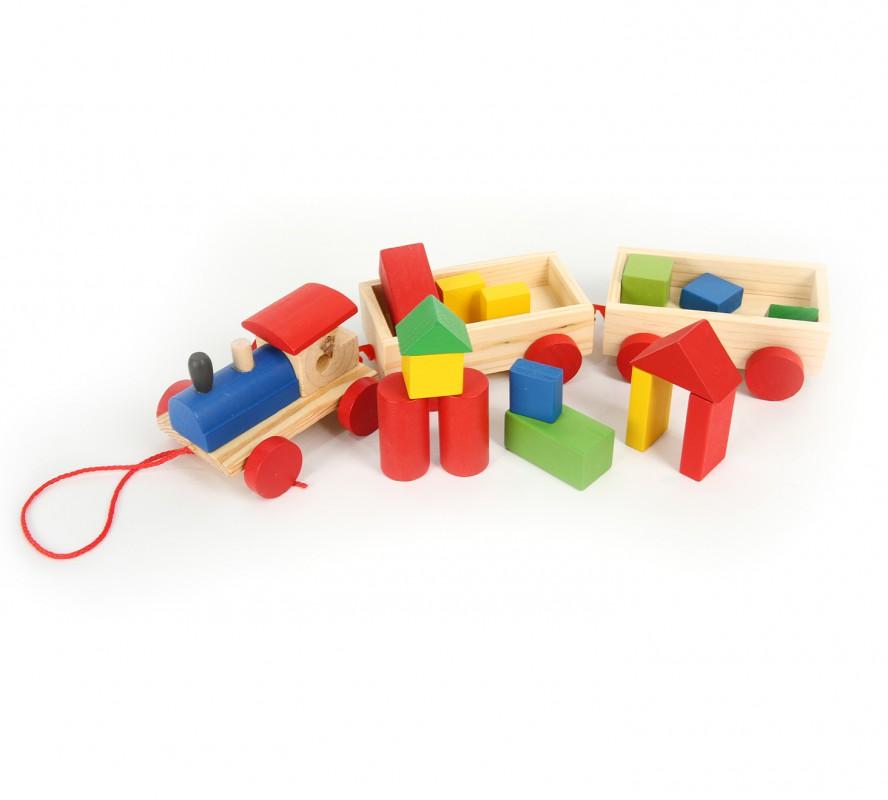 บล็อกไม้ทรงรถไฟ Wooden toy stacking train